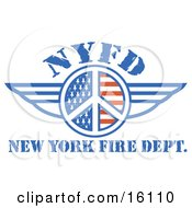 Peace Symbol Of Stars And Stripes Around Nyfd With Wings