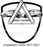 Clipart Of A Black And White Automotive Design Royalty Free Vector Illustration