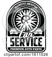Clipart Of A Black And White Automotive Design With A Rim Royalty Free Vector Illustration