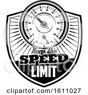 Clipart Of A Black And White Automotive Design With A Speedometer Royalty Free Vector Illustration
