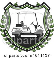 Clipart Of A Golfing Shield With A Cart Royalty Free Vector Illustration