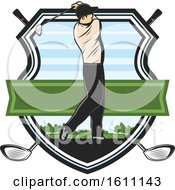 Golfing Shield With A Golfer
