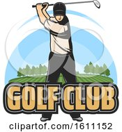 Golfer Swinging With Text