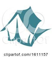 Clipart Of A Blue Camping Tent Royalty Free Vector Illustration by Vector Tradition SM