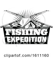 Clipart Of A Black And White Fishing And Camping Design Royalty Free Vector Illustration