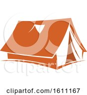 Clipart Of An Orange Camping Tent Royalty Free Vector Illustration