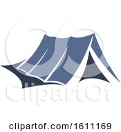 Clipart Of A Blue Camping Tent Royalty Free Vector Illustration