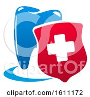 Red White And Blue Dental Insurance Design With A Tooth And Cross