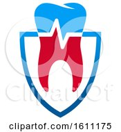 Red White And Blue Dental Design With A Tooth