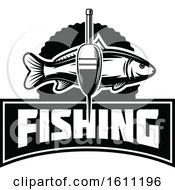 Clipart Of A Black And White Fishing Design Royalty Free Vector Illustration