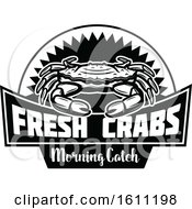 Clipart Of A Black And White Crab Fishing Design Royalty Free Vector Illustration