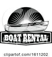 Clipart Of A Black And White Fishing Boat Design Royalty Free Vector Illustration