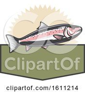 Clipart Of A Trout Fishing Design Royalty Free Vector Illustration