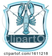 Clipart Of A Blue Lobster Fishing Design Royalty Free Vector Illustration