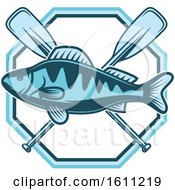 Clipart Of A Blue Fishing Design Royalty Free Vector Illustration