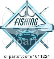 Clipart Of A Blue Crab Fishing Design Royalty Free Vector Illustration