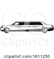 Clipart Of A Black And White Wedding Limo Royalty Free Vector Illustration