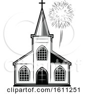 Clipart Of A Black And White Church Royalty Free Vector Illustration