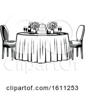 Clipart Of A Black And White Retro Table With Flowers And A Wedding Cake Royalty Free Vector Illustration