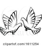 Poster, Art Print Of Black And White Wedding Doves