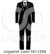 Clipart Of A Black And White Wedding Tuxedo Royalty Free Vector Illustration