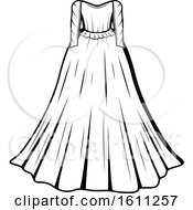 Clipart Of A Black And White Wedding Gown Royalty Free Vector Illustration