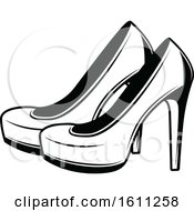 Poster, Art Print Of Black And White Pair Of Wedding Heels