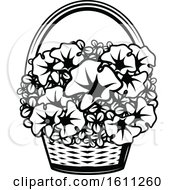 Clipart Of A Black And White Basket Of Flowers Royalty Free Vector Illustration