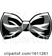 Clipart Of A Black And White Wedding Bow Tie Royalty Free Vector Illustration