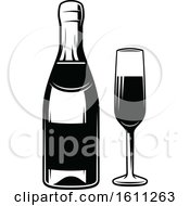 Poster, Art Print Of Black And White Glass And Bottle Of Champagne