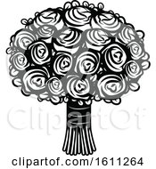 Clipart Of A Black And White Wedding Bouquet Royalty Free Vector Illustration