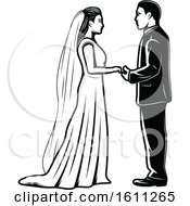 Clipart Of A Black And White Wedding Couple Royalty Free Vector Illustration