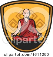 Clipart Of A Monk In A Shield Royalty Free Vector Illustration