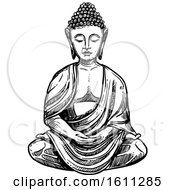 Clipart Of A Sketched Black And White Buddha Royalty Free Vector Illustration