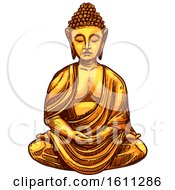Clipart Of A Sketched Golden Buddha Royalty Free Vector Illustration by Vector Tradition SM