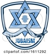 Clipart Of A Blue Judaism Shield With The Star Of David Royalty Free Vector Illustration by Vector Tradition SM