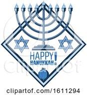 Clipart Of A Blue Judaism Diamond With A Menorah And Happy Hanukkah Text Royalty Free Vector Illustration
