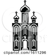 Clipart Of A Black And White Mosque Royalty Free Vector Illustration