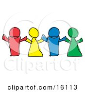 Red Yellow Blue And Green Paper Dolls Or Children Holding Hands Clipart Illustration