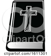 Clipart Of A Black And White Holy Bible Royalty Free Vector Illustration