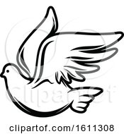 Clipart Of A Black And White Dove Royalty Free Vector Illustration
