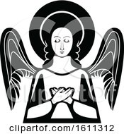 Clipart Of A Black And White Angel Royalty Free Vector Illustration