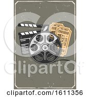 Clipart Of A Vintage Distressed Design With A Clapper Film Reel And Tickets Royalty Free Vector Illustration