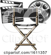 Clipart Of A Directors Chair Film Reel And Clapper Board Royalty Free Vector Illustration by Vector Tradition SM