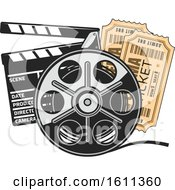 Clipart Of A Film Reel Tickets And Clapper Board Royalty Free Vector Illustration