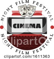 Clipart Of A Theater With Masks And Cinema Text Royalty Free Vector Illustration