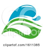 Clipart Of A Green And Blue Water Leaf Organic Natural Design Royalty Free Vector Illustration