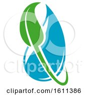 Green And Blue Water Leaf Organic Natural Design