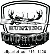 Clipart Of A Black And White Hunting Design Royalty Free Vector Illustration
