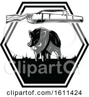 Clipart Of A Black And White Boar Hunting Design Royalty Free Vector Illustration